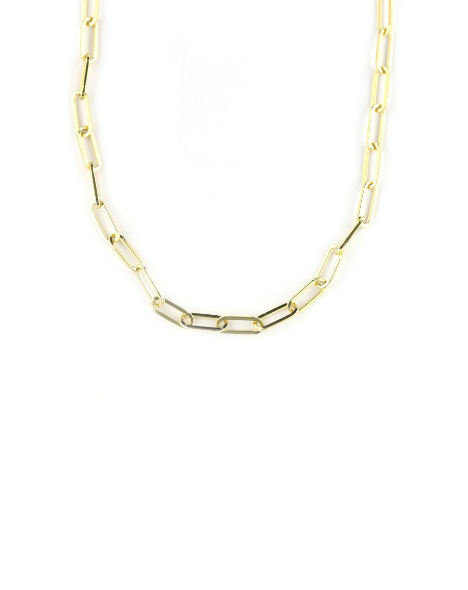 Thick Gold Paper Clip Necklace