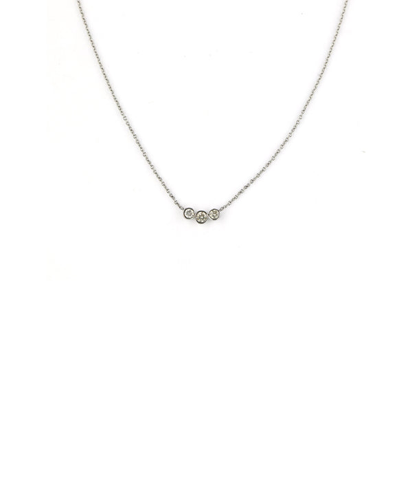 Silver Diamond Cluster Necklace