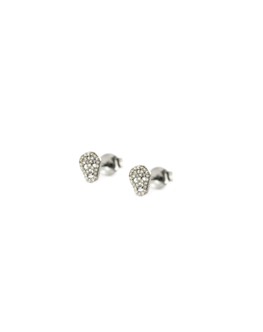 Tiny Diamond Silver Skull Studs