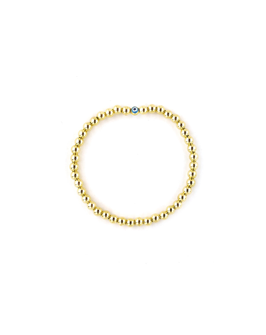 Mini Evil Eye Gold Bead Stretchy