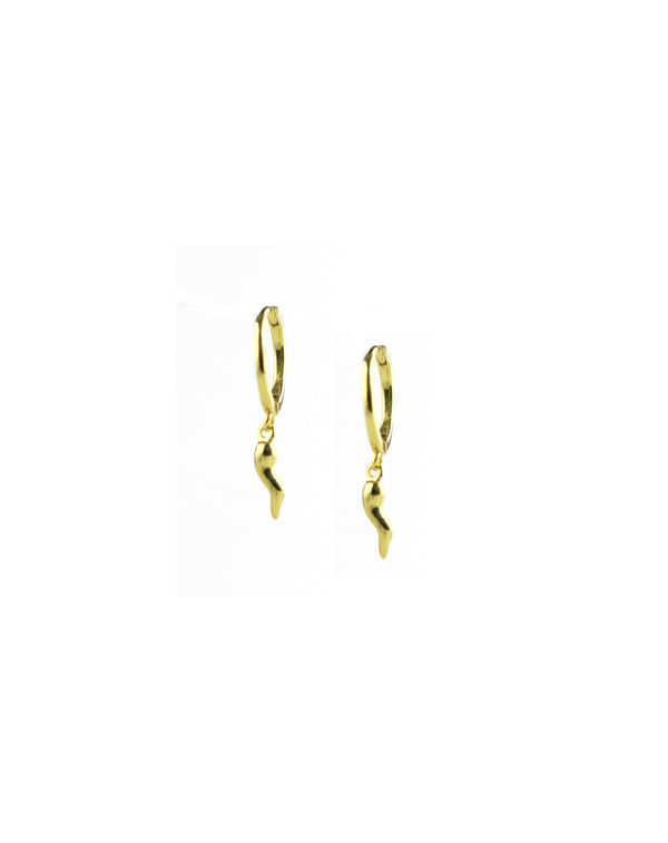 Gold Mini Italian Horn Huggie Earrings