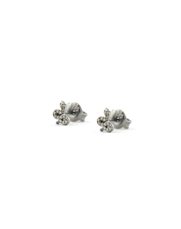 Tiny Silver Diamond Snake Studs