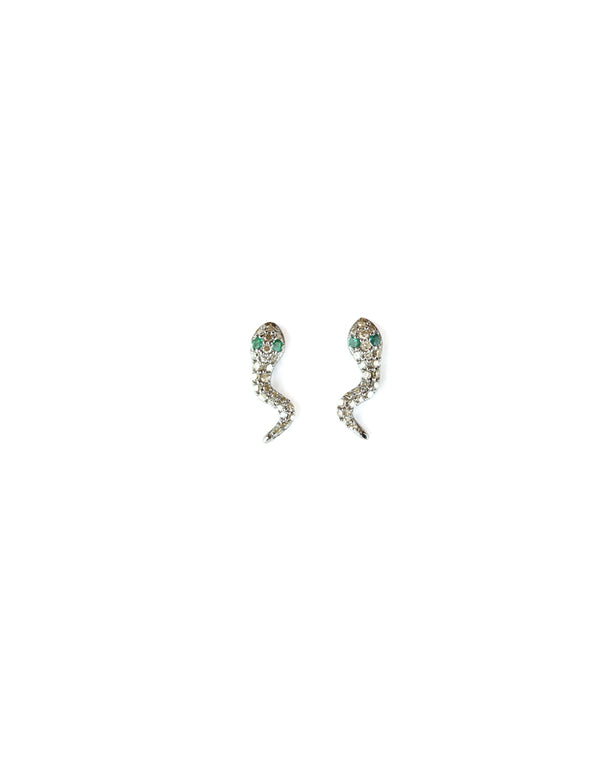 Tiny Diamond Snake Studs