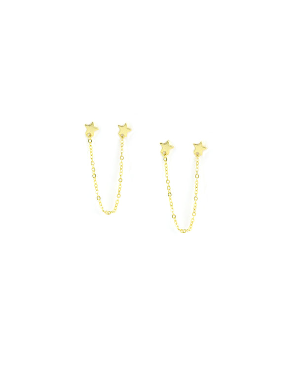 Gold Mini Star & Chain Stud Earrings