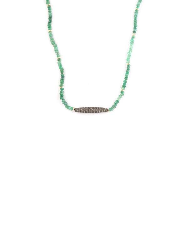 Green Tourmaline Diamond Bar Necklace