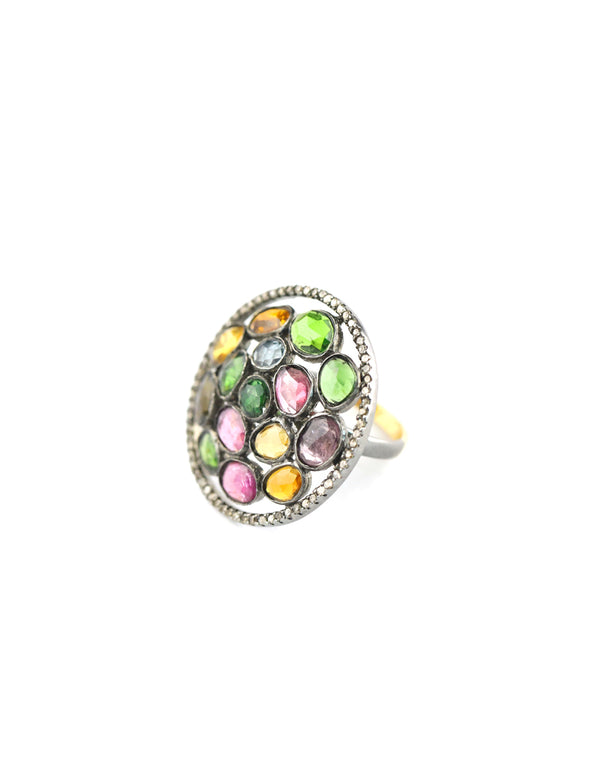 Pebble Tourmaline Diamond Ring