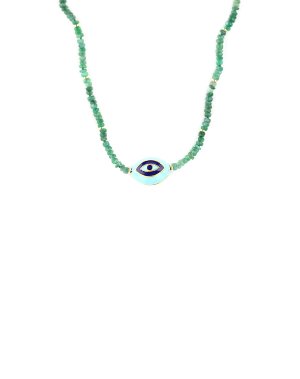 Green Tourmaline Enamel Evil Eye Necklace