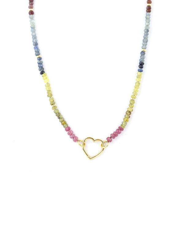 Multicolored Tourmaline with 14K Gold Heart Lock