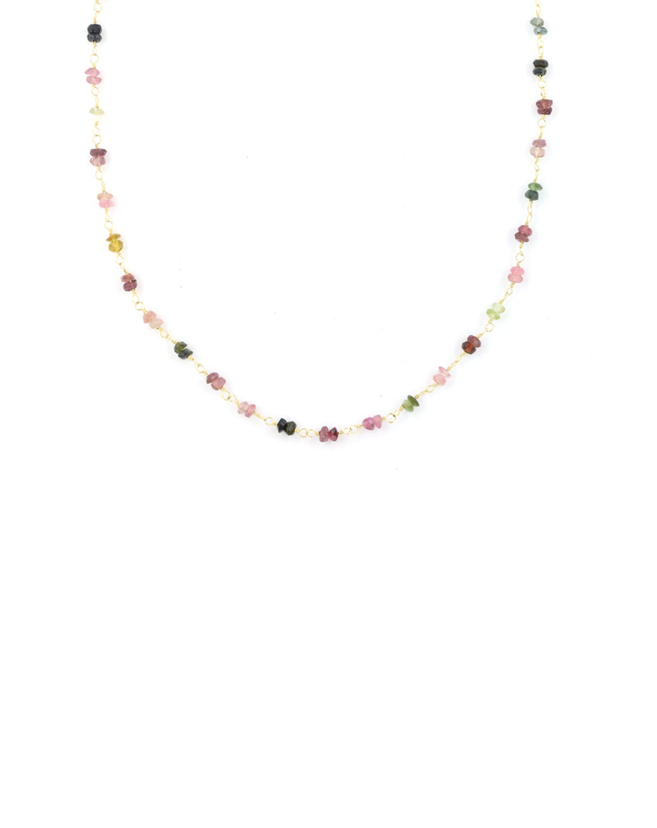 Tourmaline tin cup necklace