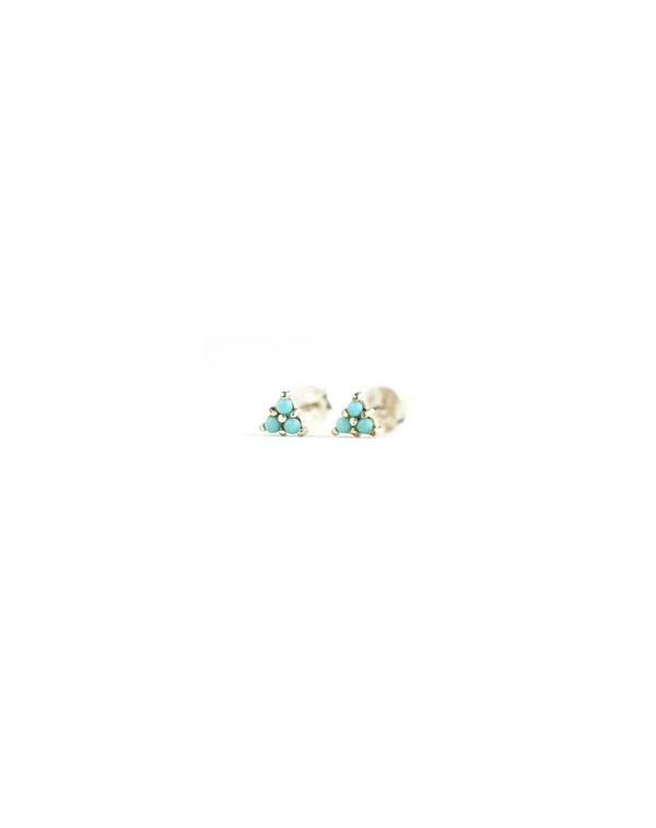 Silver Turquoise Tri-Cluster Stud Earrings