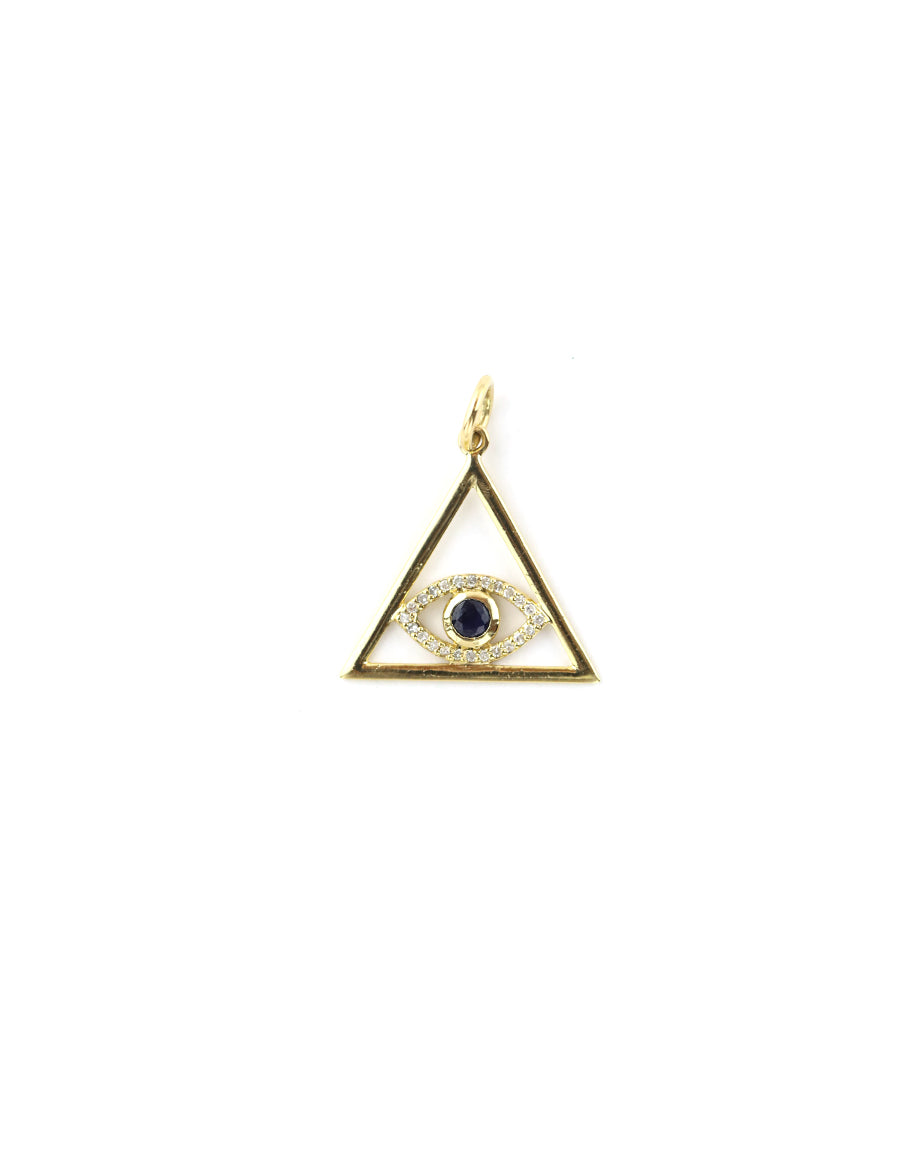 14K Gold Triangle Evil Eye Charm