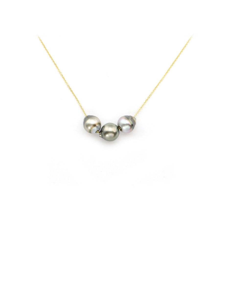 14K Gold Triple Tahitian Pearl Necklace