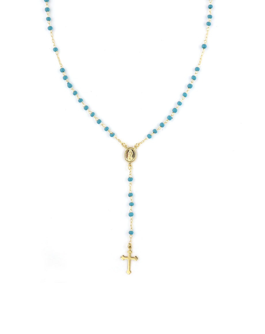 Turquoise Beaded Gold Rosary