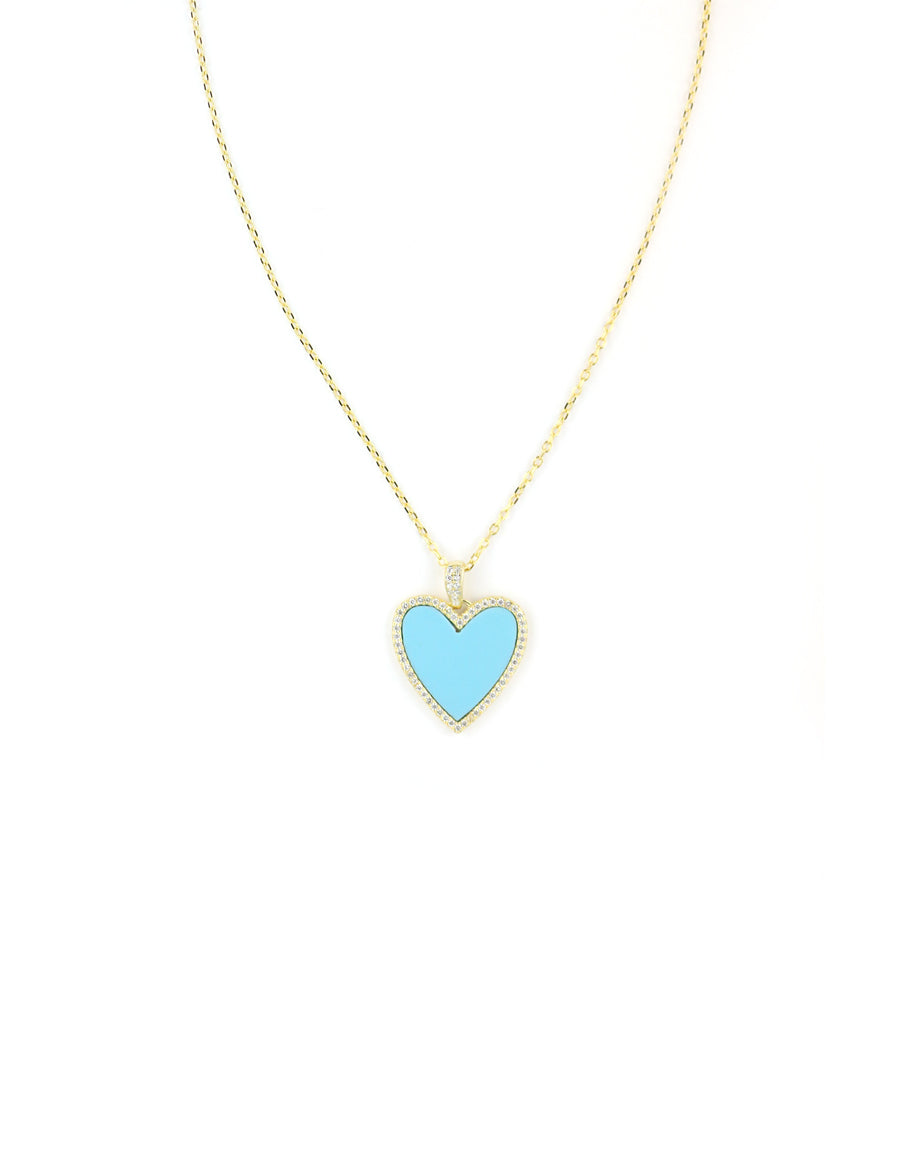 Turquoise CZ Heart Necklace