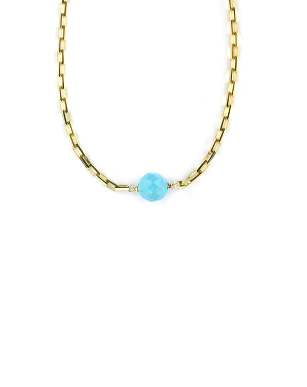 The Chloe Choker: Turquoise & Modern Gold Chain