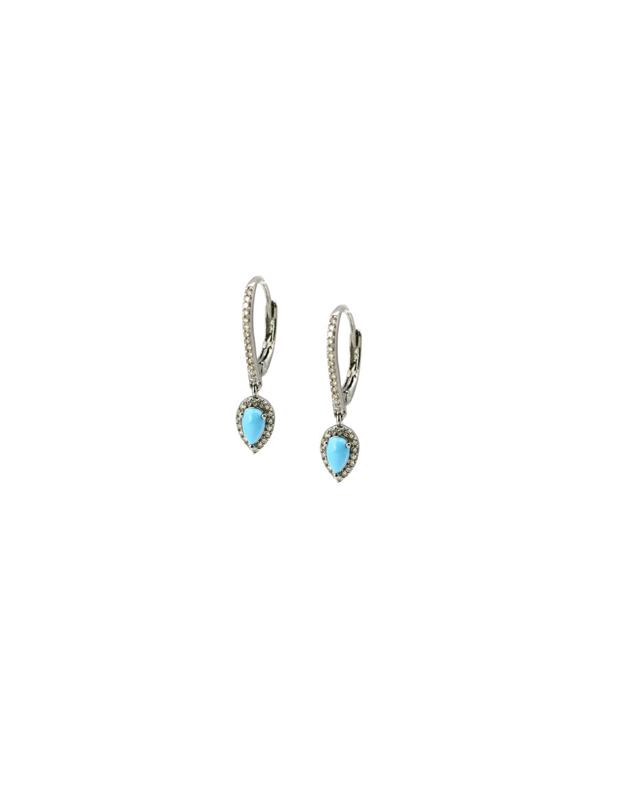 Sleeping Beauty Turquoise Diamond Drop Earrings