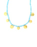 Turquoise Gold Disc Charm Necklace
