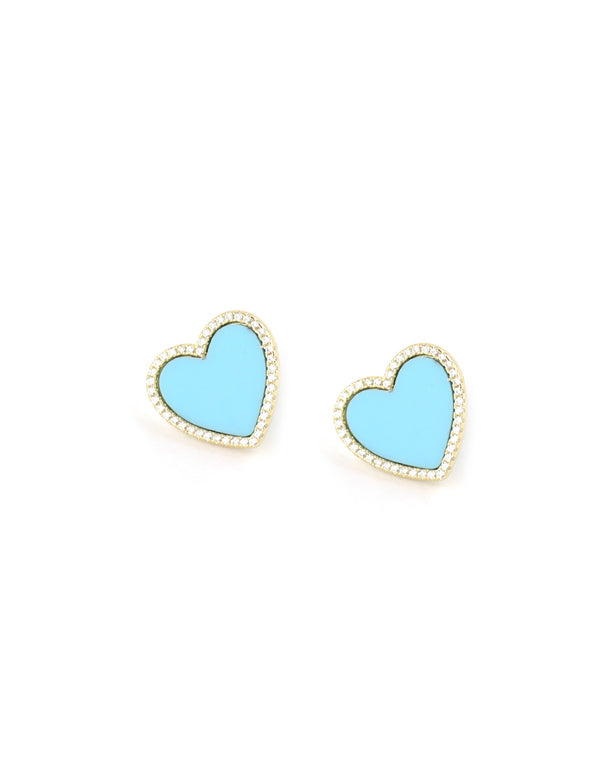 Turquoise CZ Heart Studs