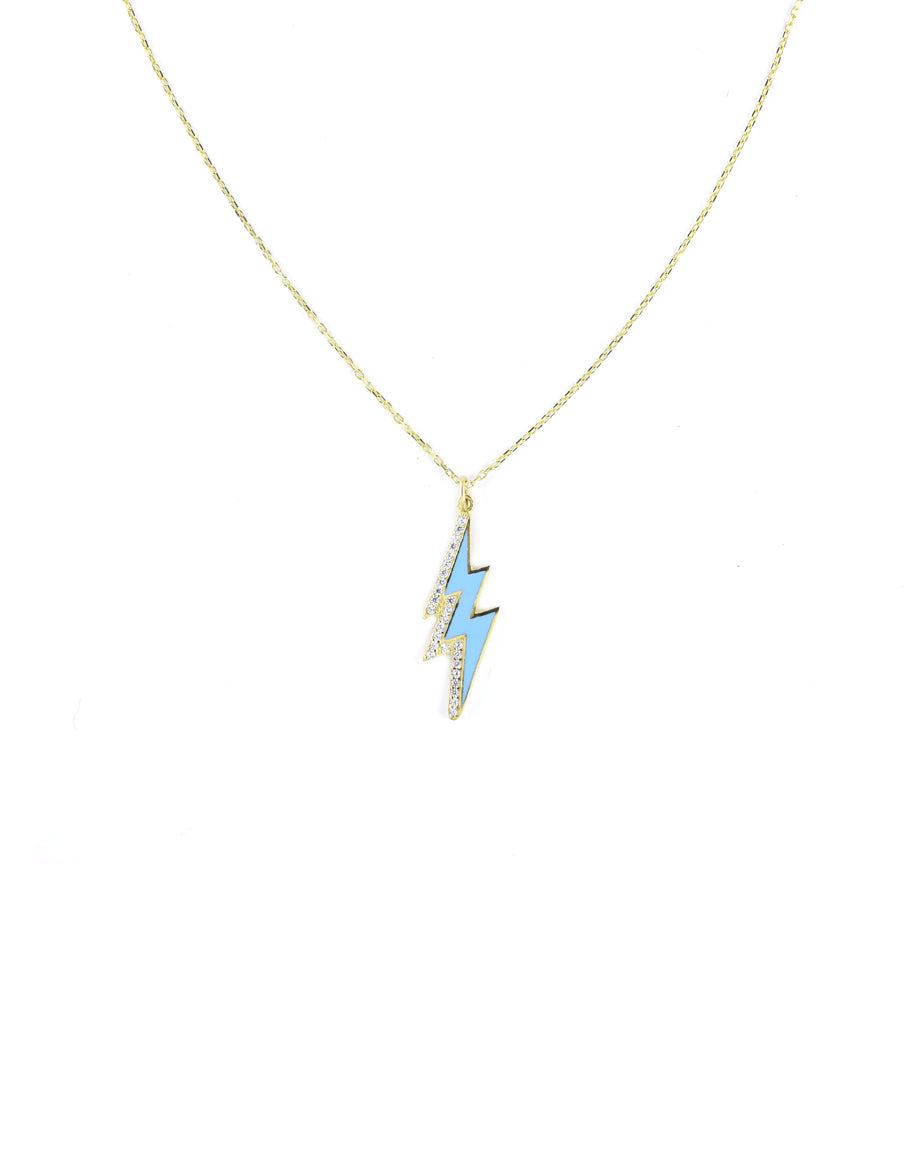 Turquoise Enamel Lightning Bolt Necklace