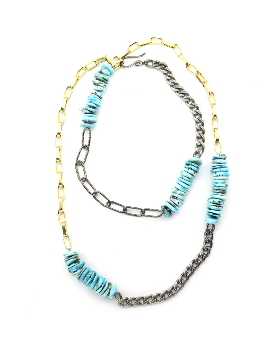Chunky Turquoise Metallica Chain Necklace