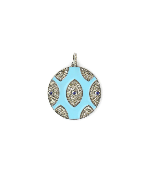 Turquoise Multi Evil Eye Diamond Pendant