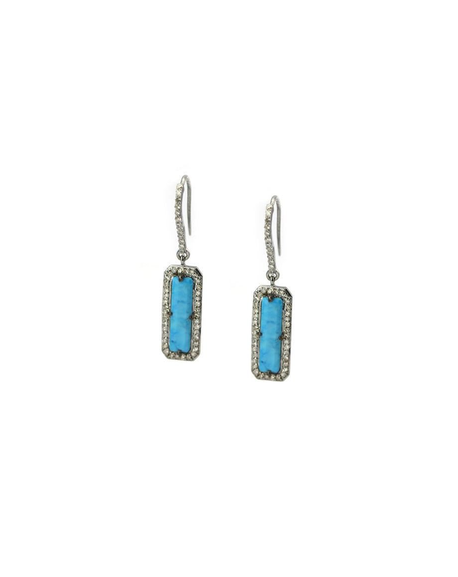 Mini Turquoise Slab Earrings