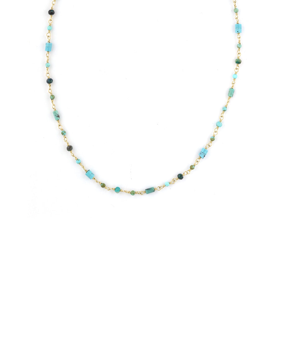 The Tin Cup Necklace: Tiny Mixed Turquoise Beads