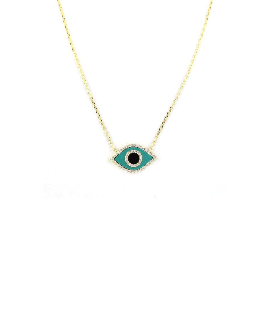 Turquoise & Black Evil Eye Necklace