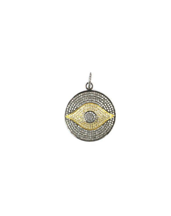 Two Toned Diamond Evil Eye Pendant