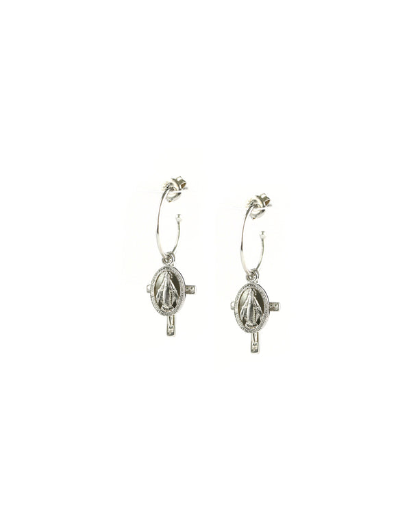 Silver Virgin Mary Cross Huggie Earrings
