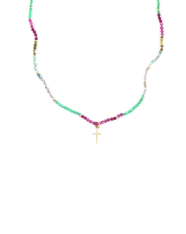 14K Gold Mini Cross Watermelon Agate Necklace