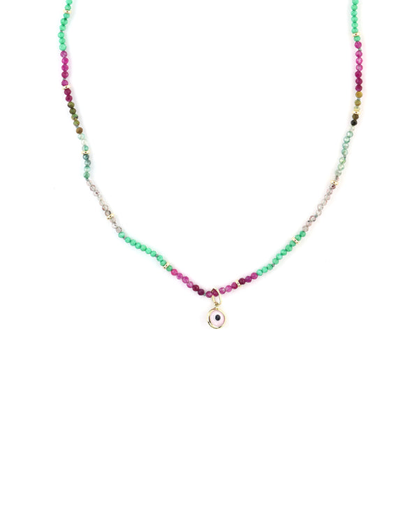 14K Gold Pink Evil Eye Watermelon Agate Necklace