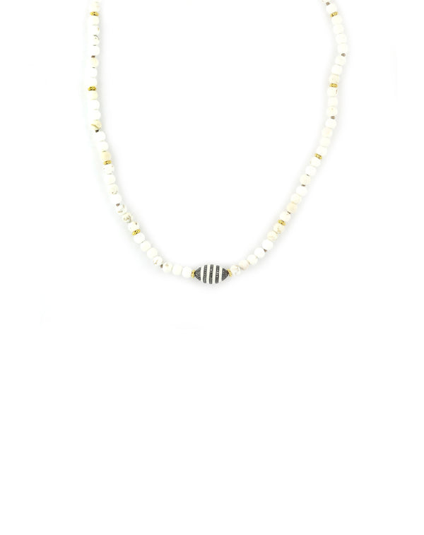 White Enamel Magnesite Necklace