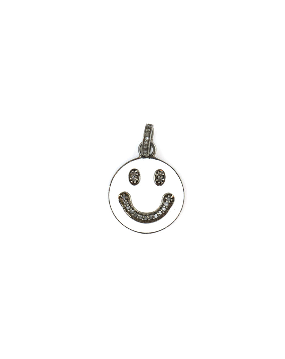 White Enamel Smiley Face Pendant