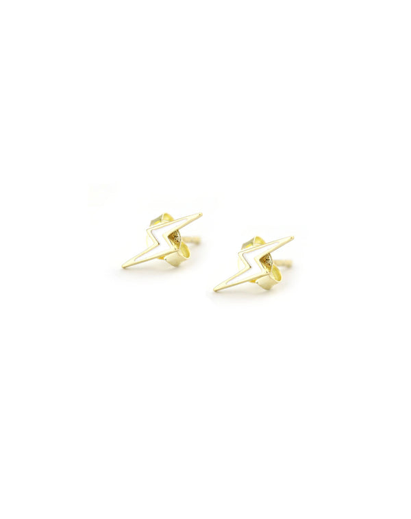 White Enamel Lightning Bolt Stud