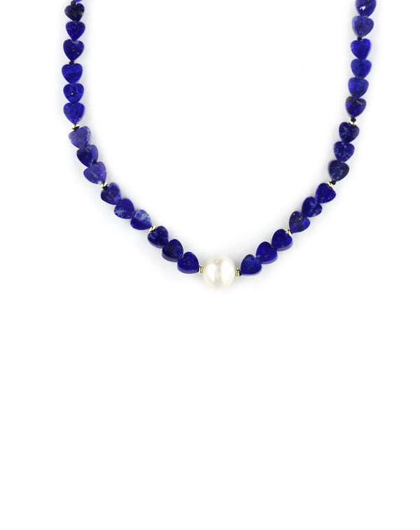 The Chloe Choker: White Pearl & Lapis Heart Necklace