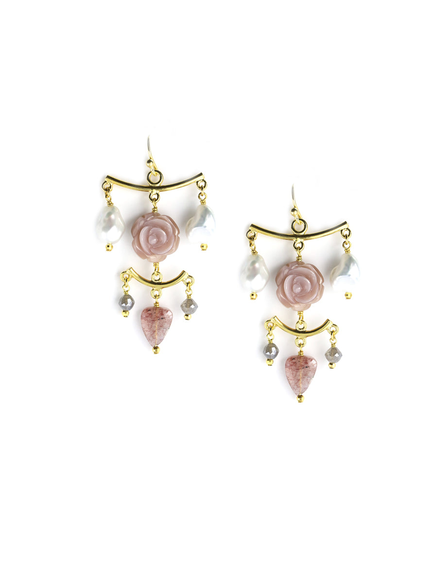 Chan Luu Rose Chandelier Earrings
