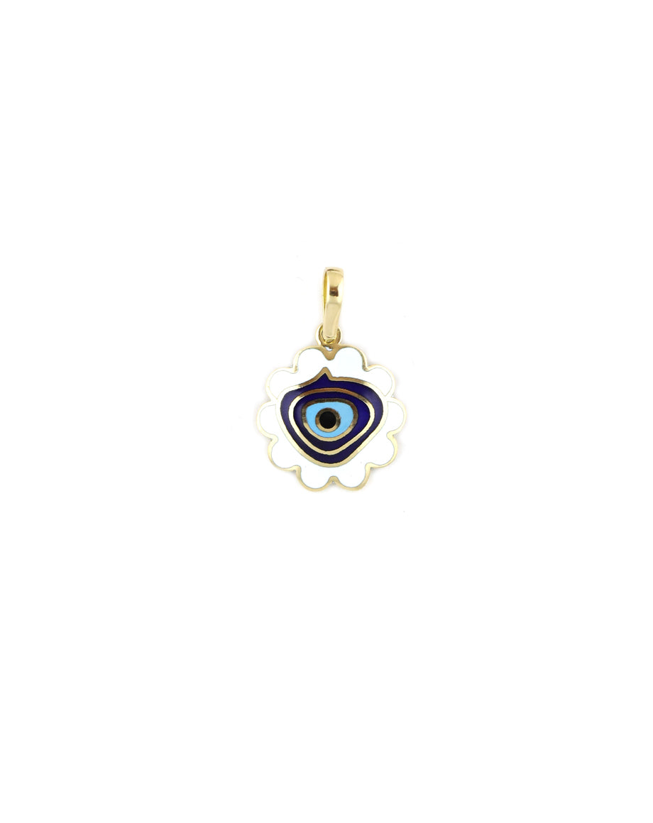 Scalloped White Enamel Evil Eye Turkish Charm