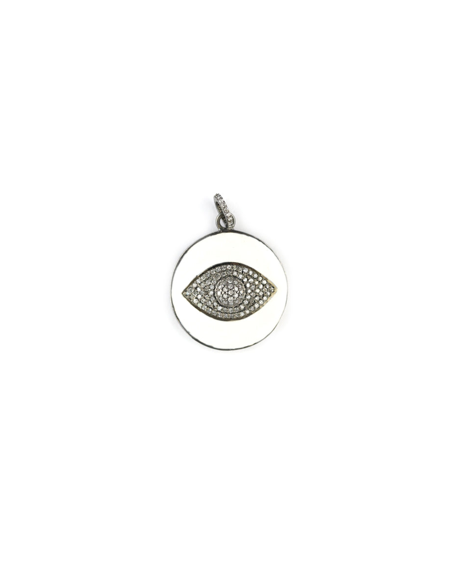 White Enamel Diamond Evil Eye Pendant