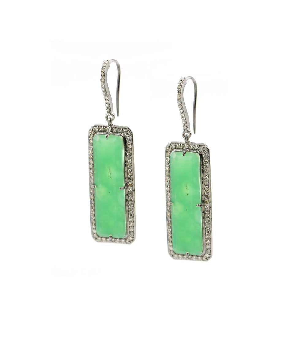 Landa Slab Earrings: Chrysoprase