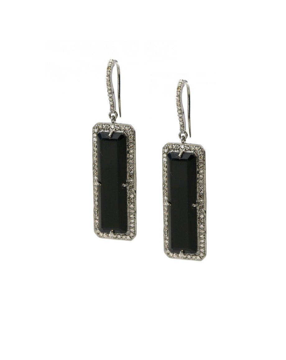 black onyx and diamond earrings
