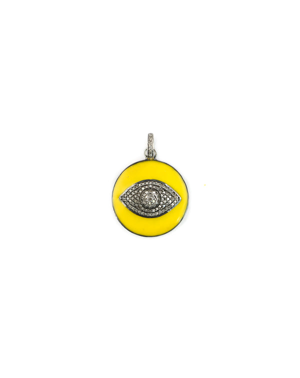 Yellow Enamel Diamond Evil Eye Pendant