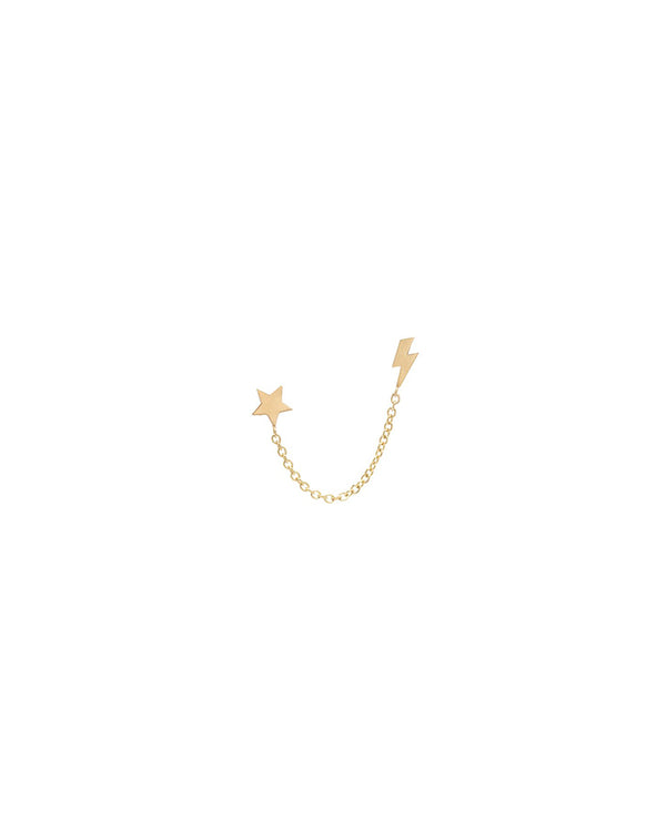 Zoe Chicco 14K Gold Star & Bolt Chain Earring