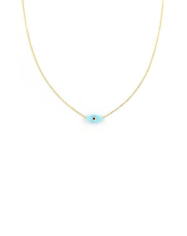 14K Gold Mini Blue Mother of Pearl Greek Evil Eye Necklace