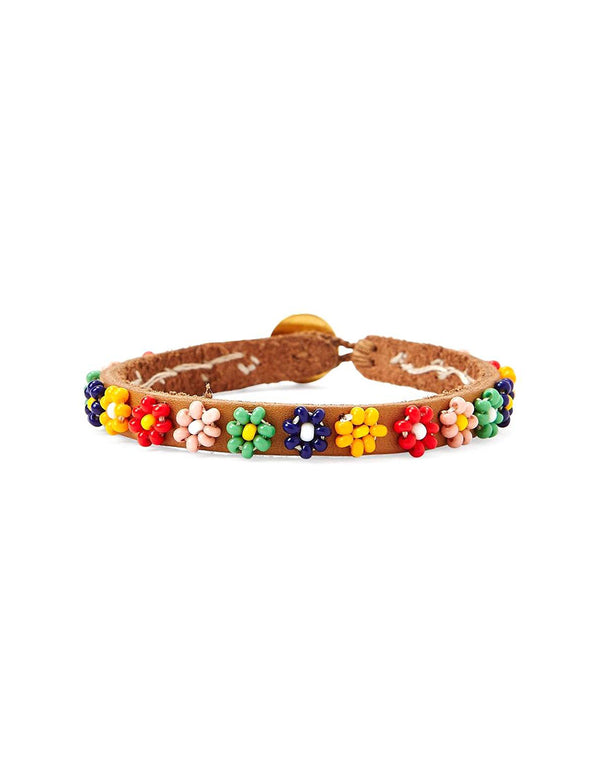 Chan Luu Multi Flower Leather Bracelet