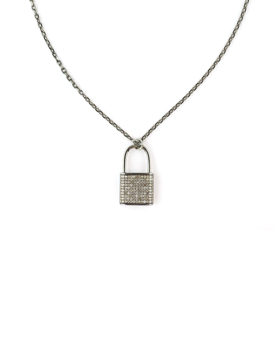 Silver Pave Diamond Padlock Necklace