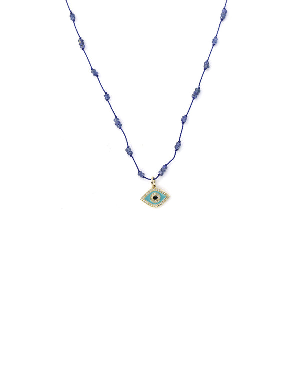 14K Gold Turquoise Enamel Evil Eye Sapphire Necklace