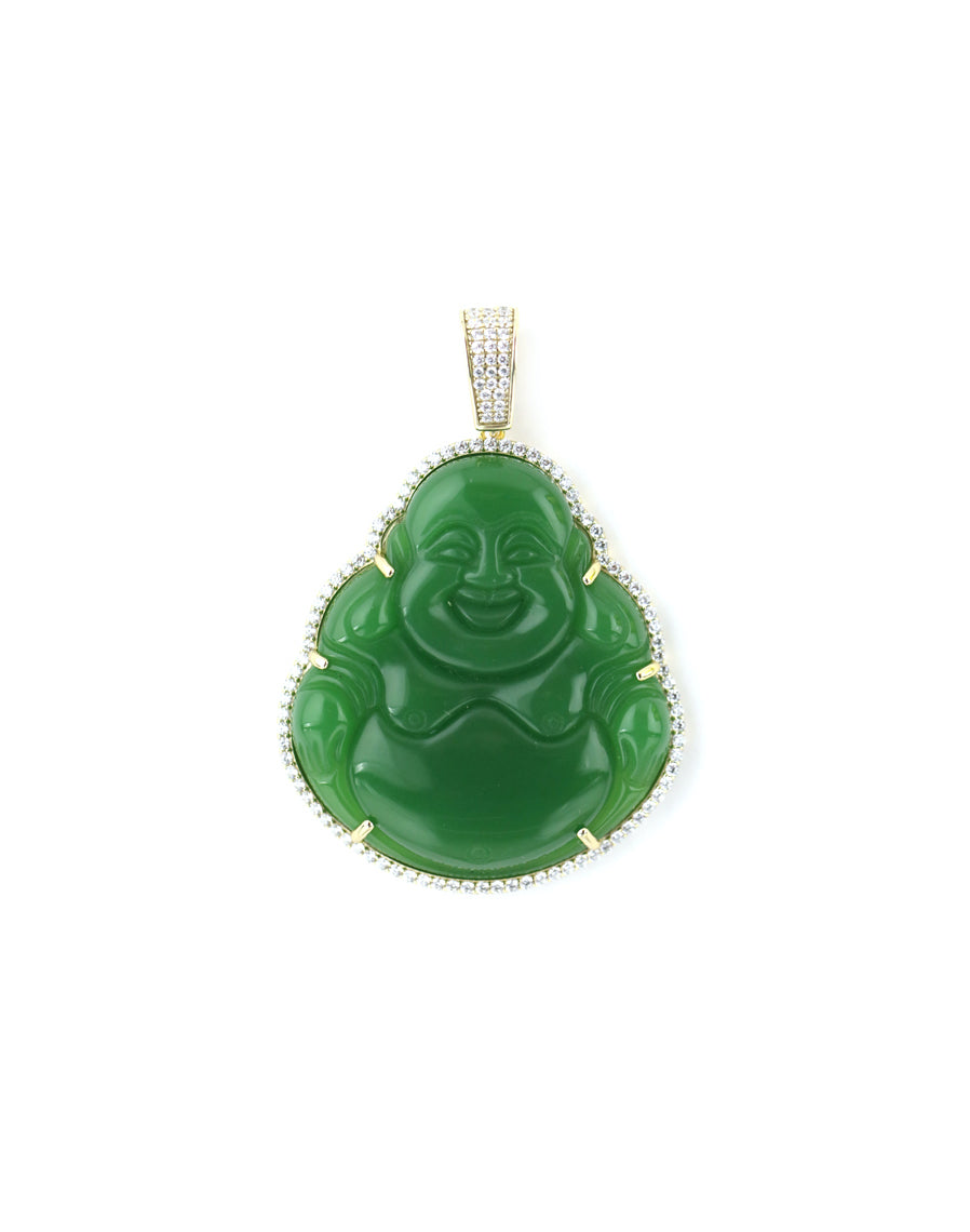 XL Gold Green Buddha Pendant