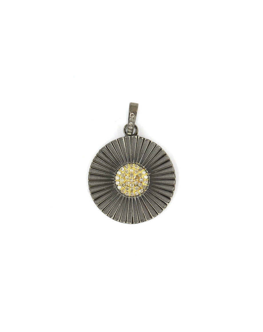Two Toned Fanned Medallion Charm