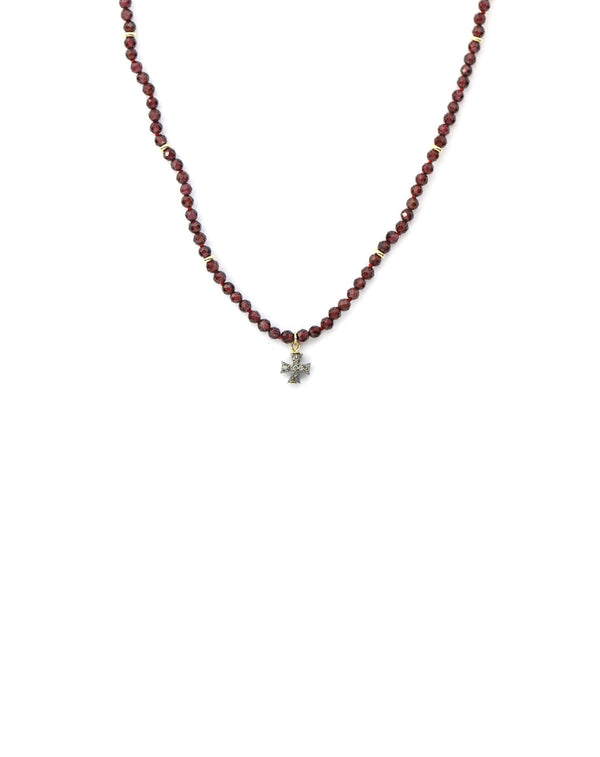 Garnet Diamond Cross Necklace